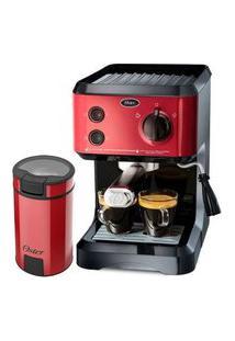 Kit Cafeteira Expresso Cappuccino E Moedor De Café Oster Red 110V