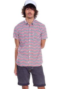 Camisa Levis Short Sleeve Sunset One Pocket Masculina - Masculino-Vermelho+Branco