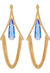 Brinco Correntes Longo Semijoia Banho De Ouro 18K Cristal Azul Safira
