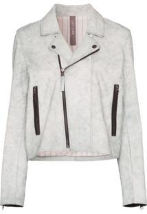 Lot Lthr Zipped Biker Jacket - Branco