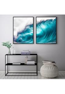 Quadro Oppen House 70X100Cm Onda Big Blue Praias Surfista Decorativo Interiores Sala De Estar Quartos Moldura Preta Com Vidro