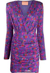 Andamane Vestido Franzido Com Estampa Floral - Roxo
