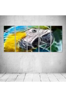 Quadro Decorativo - Parrot Neon Face - Composto De 5 Quadros