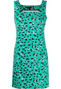 Love Moschino Vestido Reto Com Estampa De Leopardo - Verde
