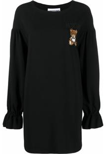 Moschino Vestido Mangas Bispo Com Estampa De Urso - Preto