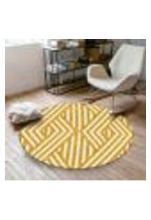 Tapete Redondo Wevans Geométrico Amarelo 84Cm