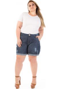 Short Plus Size - Confidencial Extra Jeans Boyfriend Olaf Com Puídos - Tricae