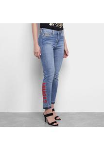 Calça Jeans Carmim Estampa Feminina - Feminino-Azul