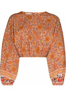 Boteh Blusa Cropped Petra Com Estampa Floral - Laranja