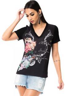 T-Shirt Moikana Gola V De Tricô Feminina - Feminino-Preto