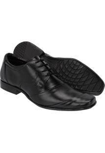 Sapato Social Couro Leoppé C/ Cadarço Masculino - Masculino-Preto