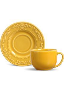 Xícara De Chá Acanthus Cerâmica 6 Peças Mostarda Porto Brasil