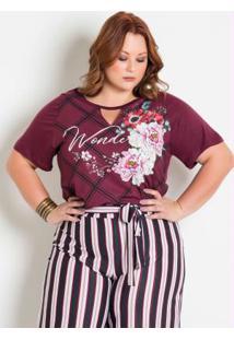 Blusa Decote Vazado Floral Roxo Plus Size