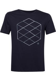 Camiseta Dudalina Careca Estampa Hexagono Masculina (Azul Marinho, P)
