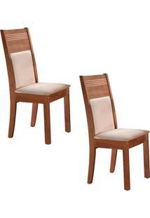 Conjunto Com 2 Cadeiras Ravena Chocolate E Cru