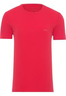 Camiseta Masculina Logo Peito Ckj - Vermelho