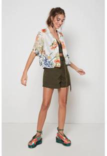 Camisa Oh,Boy! T-Shirt Flor Oriente Feminina - Feminino-Off White