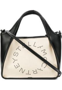 Stella Mccartney Bolsa Tote Com Logo 'Stela' Pequena - Neutro