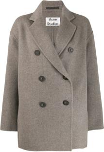 Acne Studios Short Double-Breasted Coat - Cinza