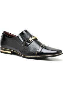 Sapato Social Fivela Gofer Masculino - Masculino-Preto+Dourado