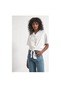 Camisa Manga Curta Com Amarração Na Frente E Elástico Nas Costas | Marfinno | Branco | Pp