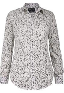 Camisa Khelf Elastano Floral Off White/Preto