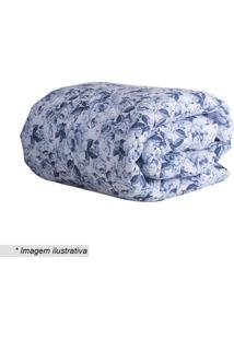 Edredom Taormina Dupla Face Solteiro- Azul & Branca-Sultan