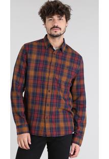 Camisa Masculina Estampada Xadrez Com Bolso Manga Longa Caramelo