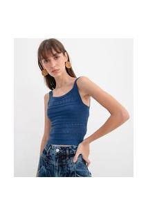 Blusa Cropped Em Tricô Com Detalhes Vazados | Blue Steel | Azul | G