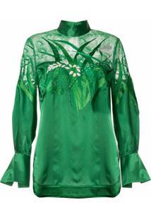 Mame Kurogouchi Blusa De Cetim Com Recortes De Renda - Verde