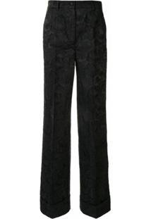 Dolce & Gabbana Calça Pantalona De Jacquard - Preto