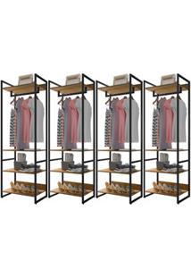 Guarda Roupa Casal Closet 4 Módulos Indy F02 Castanho Texturizado - Mp