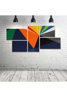 Quadro Decorativo - Material-Abstract - Composto De 5 Quadros