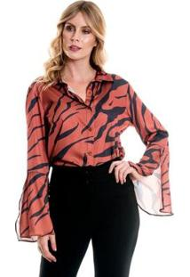 Camisa Bisô Flare Estampada Feminino - Feminino-Marrom