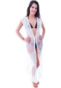 Saída De Praia Shopping Bali Tule - Feminino-Branco