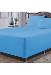 Jogo De Lençol P/ Cama Box Complet Azul Queen 03 Peças - Malha 100% Algodão