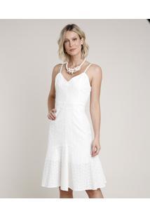 Vestido Feminino Midi Em Laise Alça Fina Decote V Off White