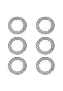 Conjunto Wolff Com 6 Pratos Fundos Porcelana Super White Vera Silver 22X4Cm Prata