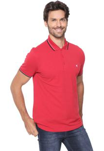 Camisa Polo Malwee Slim Listras Vermelha
