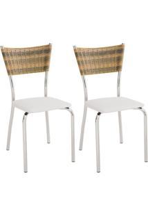 Kit Com 2 Cadeiras Unimóvel, Com Encosto Trançado - 430