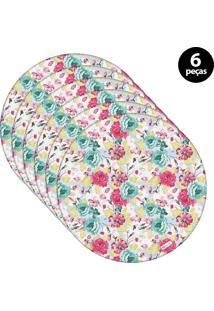 Sousplat Mdecore Floral 32X32Cm Azul 6Pçs