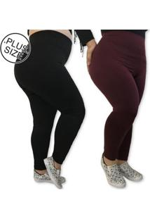 Kit 2 Leggings Plus Size Heide Ribeiro Leg Basic Suplex Barato Feminino - Feminino-Preto+Vinho