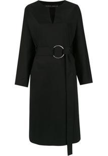 Gloria Coelho Vestido Midi Com Cinto - Preto