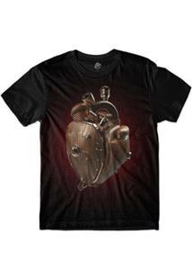 Camiseta Bsc Coração De Máquina Madeira Masculina - Masculino-Vermelho