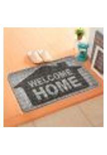 Capacho Carpet Welcome Home Cinza Único