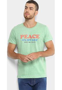 Camiseta Colcci Estampa Peace Masculina - Masculino-Verde+Laranja