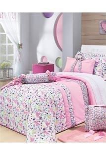 Colcha De Cama Solteiro Rosa Estampado Percal 200 Fios Com 6 Peças - Colcha Campofiori - Bernadete Casa - Kanui