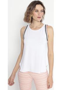 Blusa Com Bordados- Branca & Azul Marinho- Cotton Cocotton Colors Extra