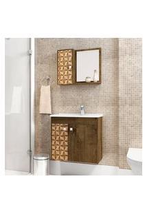 Gabinete De Banheiro Munique Com Cuba E Espelheira Madeira Rústica 3D Móv Bechara
