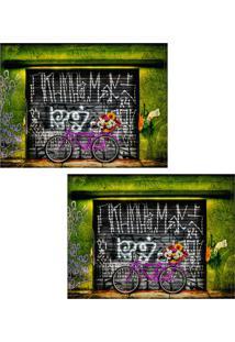 Jogo Americano Colours Creative Photo Decor - Bicicleta Bike Pink - 2 Peças